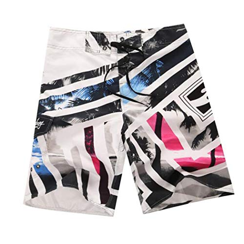 (LUCACO Mens Shorts Surf Board Summer Sport Beach Homme Bermuda Short Pants Quick Dry Silver)