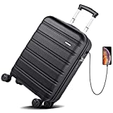 REYLEO Hardside Spinner Luggage 20 Inch Carry On Luggage Lightweight Travel Suitcase with 8 Silent Wheels Two USB Charging Port Built-in TSA Lock, LUG20A