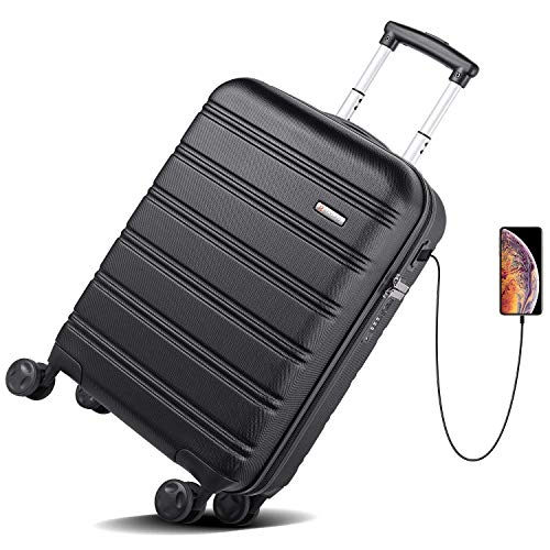 (REYLEO Hardside Spinner Luggage 20 Inch Carry On Luggage Lightweight Travel Suitcase with 8 Silent Wheels Two USB Charging Port Built-in TSA Lock, LUG20A)