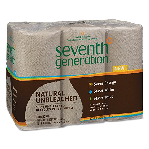 Seventh Generation 13737 Natural Unbleached 100% Recycled Paper Towel Rolls, 11 x 9, Brown (Case of 24)