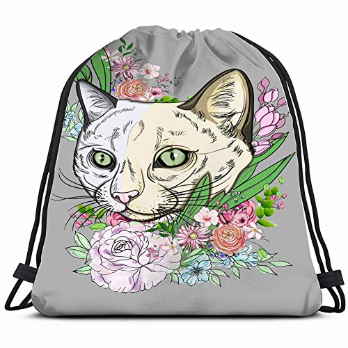 silhouette muzzle cat flowers nature Lightweight Drawstring Bag Sport Gym Sack Bag Backpack 17X14 Inch
