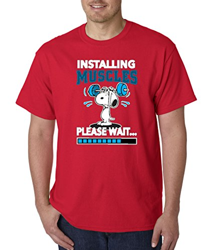 - New Way 433 - Unisex T-Shirt Installing Muscles Please Wait Snoopy Peanuts Workout Training Gym 4XL Red