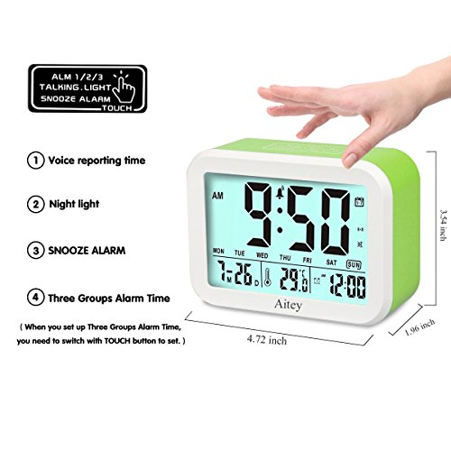 Digital Alarm Clock, Aitey Talking Clock with 3 alarms, Optional Weekday Alarm, Intelligent Noctilucent & Snooze Function, Month Date & Temperature Display for Adults, Kids & Teens (Green) by Aitey (Image #1)