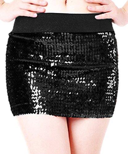 Black Sequin Mini Skirt - Alivila.Y Fashion Women's Sparkling Sequins Stretch Mini Skirt Dress 3471-Black