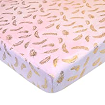 American Baby Company Fitted Portable Sheet, Sparkle Gold Feather on Solid Pink, Mini Crib