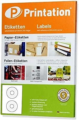 Etiquetas CD DVD blanco autoadhesivo redondo opaco imprimible - 50 pegatinas en papel DIN A4 de 25 hojas - diámetro 117 mm