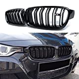 Ricoy Gloss Black For BMW F30 F31 F35 2012-2014 3 Series 320i 328i 335i 335i xDrive Twin FIns Front Kindey Grille Grill With M3 Emblem Pair