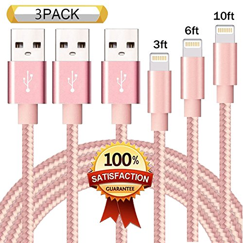 XIANDAN Lightning Cable 3Pack 3FT 6FT 10FT Nylon Braided Cer