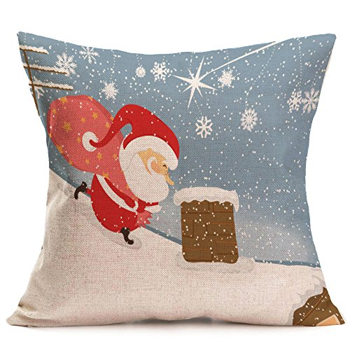 GOVOW Christmas Santa Claus Decorations Claus Decoration Festival Pillowcase Cushion Cover -