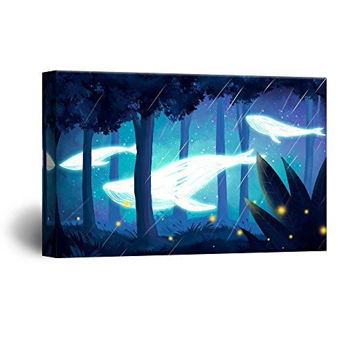 Hand Drawing Style Mystical Whale of Light Swimming in the Forest at Night Gallery