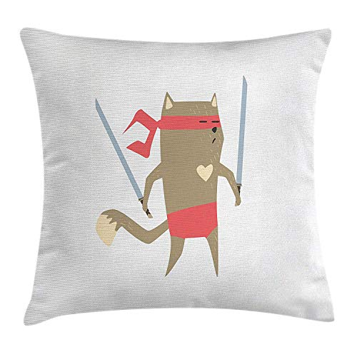 Ustcyla Japanese Throw Pillow Cushion Cover, Crime Fighter Ninja Cat and Heart Cartoon Superpower Animal Fighter Funny Design, Decorative Square Accent Pillow Case, 26 X 26 inches, Red Brown]()