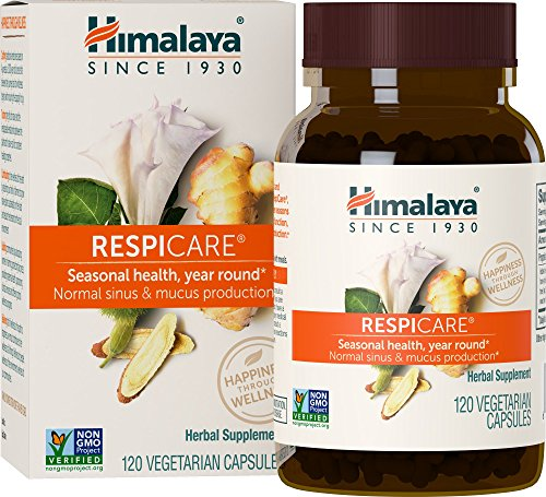 Himalaya RespiCare with Licorice and Ginger for Healthy Breathing and Sinus Support, 570mg, 120 Capsules, 1 Month Supply (Nut Malabar)