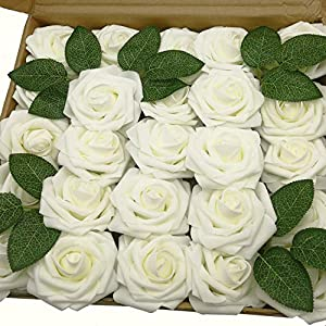J-Rijzen Jing-Rise Ivory Foam Roses 50pcs Artificial Flowers with Stem for Table Centerpieces Wedding Floral Arrangements Baby Shower Decorations Corsage Supplies(Ivory) 65