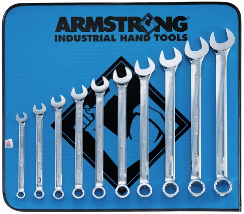Armstrong 25-637 12 Point Full Polish Long Combination Wrench Set, 10 Piece by Armstrong