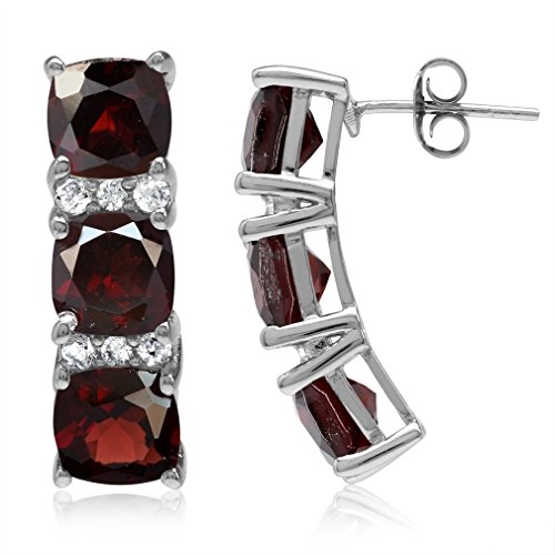(11.1ct. 3-Stone Natural Cushion Shape Garnet White Gold Plated 925 Sterling Silver Post Earrings)