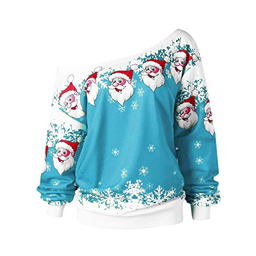 Low Jumper Pleated (Kumike Fashion Women Merry Christmas Santa Claus Print Skew Collar Sweatshirt Blouse Big (XL, Sky Blue))