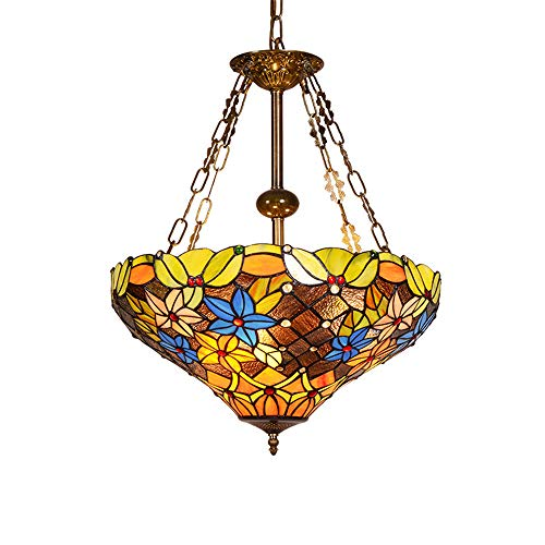 Tiffany Style Pendant Light Vintage Design Living Room Dining Room Mediterranean Corridor Balcony Hanging Lamp Pastoral Rustic Stained Glass Decoration Ceiling Lighting ()