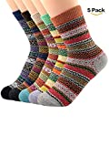all american boot company - 5 Pairs Womens Winter Socks Vintage Soft Cozy Warm Thick Knit Wool Crew Socks for Boots 5 Pairs Stripes
