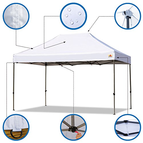ABCCANOPY 10×15 Ez Pop-up Canopy Tent Commercial Instant Canopy with Roller Bag (10×15 White)