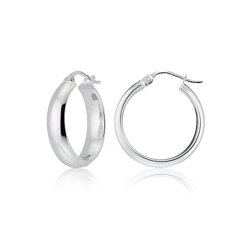 90bfc6b4fdddd Sterling Silver 5mm Wide Half-Round Design High Polished Hoop Earrings, All  Sizes