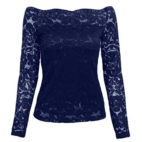 Tops Camisetas Marino Hanime Floral Encaje Larga Ahuecar Slash Mujeres Casual Delgado Cuello Manga Azul PAvFO