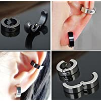 Sumanee simple Men Stainless Steel Non-Piercing Clip On Ear Stud Cuff Hoop Earrings Black