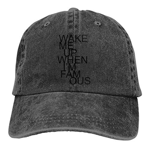 Wake Me Up When I'm Famous Adjustable Cowboy Caps Trucker Baseball Hats for Mens -