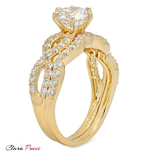 Clara Pucci 1.4 CT Round Cut Pave Halo Bridal Engagement Wedding Ring band set 14k Yellow Gold