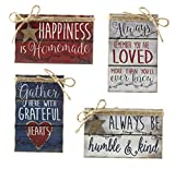 Youngs Patriotic Decor - Prim Inspiration Block Wood Sitters 4pc Set
