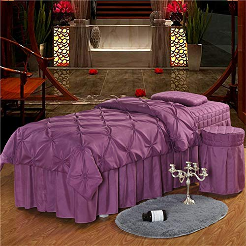 ALHBNAY Beauty Bed Set, Solid Color Quilted Bed Linen Sheet 4 Piece Massage Table Sheet Sets for Beauty Salons Massage Bed Skirt Bedspreads-Purple 70x190cm(28x75inch) (Bedspreads Gorgeous)
