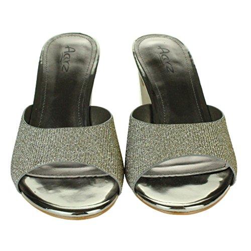 Mujer Señoras Cuadrado Punta Abierta Hebilla Detalle Correa De Tobillo Metálico Medio Tacón De Bloque Noche Fiesta Boda Prom Sandalias Zapatos Tamaño Estaño