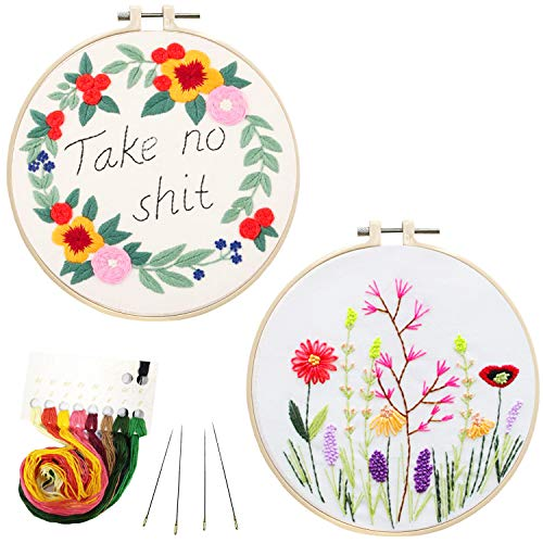 Pinkol 2 Pack Embroidery Kit Cross Stitch Kit with Printed Pattern and Instruction for Adult Beginners Starters Kit Stamped with Pattern Needlepoint Embroidery Hoops Floss Thread Needles