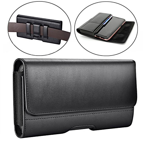 Galaxy S9 Holster Case,Dalmes Leather Galaxy S9 Belt Clip Case with Loops Belt Pouch Holder for Samsung Galaxy S9 /Galaxy S8 with a Thin Case On – Built In Card Slot – Black