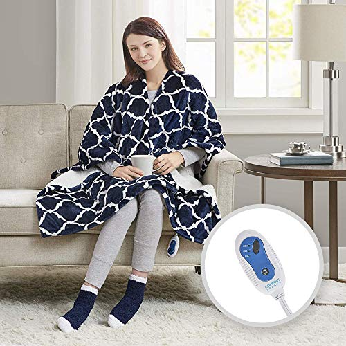 Price comparison product image Comfort Spaces Electric Heated Throw Blanket Wrap Ultra Soft Warm Plush Sherpa Reverisble Blanket - 3 Fast Heat Setting - Ogee Navy Blue- 50x64 inches Match Socks Set