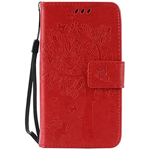 G386F Case, Galaxy Avant G386 Case, Love Sound [Cat Tree Butterfly/Red] [Wrist Strap] Luxury PU Leather Wallet Case Flip Cover Built-in Card Slots Stand for Samsung Galaxy Core LTE 4G (Samsung Galaxy Core Lte Case G386)