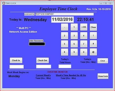 Employee Time Clock Software, Network Access license for MULTIPLE PC's on Network, Up to 100 Employees, No Monthly Fees! (Windows Vista,7,8,10)