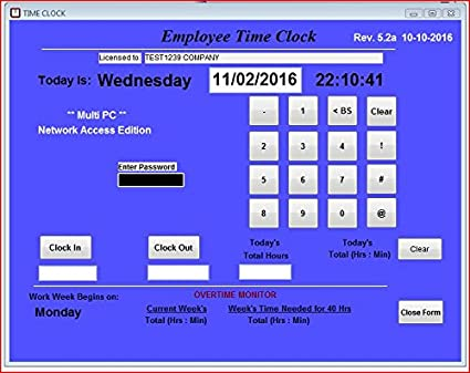 Small Business Network, Employee Time Clock Software, MULTIPLE PC Access  license on a Network, Up to 100 Employees, No Monthly Fees! (Windows