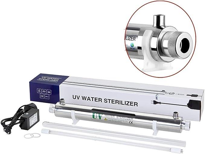 GRASSAIR Sistema De Filtración De Desinfección De Agua Ultravioleta De 6 Vatios Esterilizador UV 0.5GPM (0.1T / H) Entrada/Salida De Agua De Luz Ultravioleta 1/4 ...