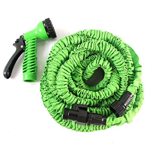 100FT Garden Expandable Hose Magic Flexible Water Hose Pipe with 7 Functions Spray Nozzle 3 4 Inch Lightweight No Kink for Gardening Car Washing 100FT Green
