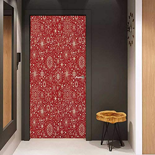 Onefzc Door Sticker Mural Red Filigree Style Snowflakes with Skinny Curl Details Cheerful Yuletide Inspiration in Art WallStickers W31 x H79 Red ()