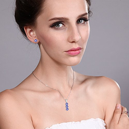 2.34 Ct Blue Tanzanite White Diamond 925 Sterling Silver Pendant Earrings Set by Gem Stone King (Image #2)