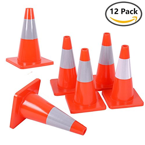 Reliancer 12PCS 18'' Traffic Cones PVC Safety Road Parking Cones Weighted Hazard Cones Construction cones for traffic Fluorescent Orange w/4'' Reflective Strips Collar by Reliancer