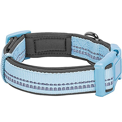 Blueberry Pet 9 Colors Soft & Safe 3M Reflective Neoprene Padded Adjustable Dog Collar - Baby Blue Pastel Color, Medium, Neck 14.5-20