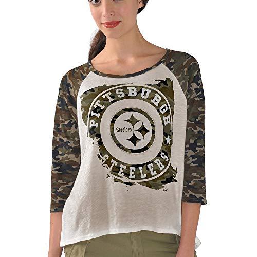 G-III 4her by Carl Banks Pittsburgh Steelers Women's Camo Field Goal Raglan T-Shirt Large