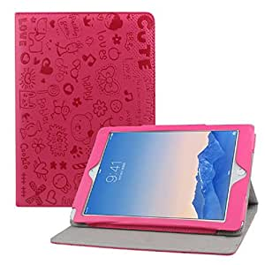 Aokdis (TM) Hot Selling Exquisite Fresh Flip Stand Leather Magnetic Flip Case Cover For iPad 6 Air 2 (hot pink)