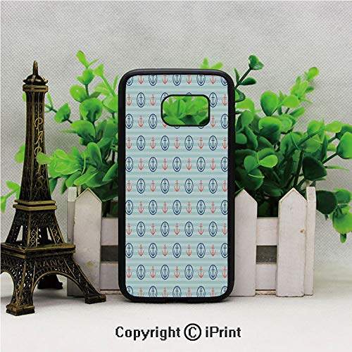 Summer Holiday Adventure Horizontal Striped Backdrop with Icons Bon Voyage Decorative Samsung Galaxy S7 Case Hard Back Shock Drop Proof Impact Resist Protective Case for Samsung S7 Seafoam Blue Coral