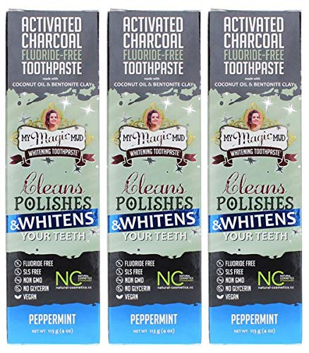 My Magic Mud Activated Charcoal Toothpaste for Whitening- Peppermint 4 oz (113 g) 3 pack