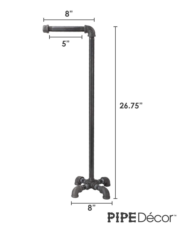 PIPE DÉCOR Freestanding Industrial Toilet Paper Holder, Rustic Farmhouse Bathroom, Iron Metal Grey Vintage Toilet… 5