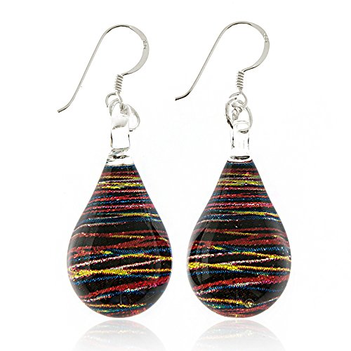 925 Sterling Silver Hand Painted Murano Glass Multi-colored Abstract Speed Light Dangle Earrings ()