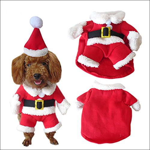 NACOCO Pet Christmas Costumes Dog Suit with Cap Santa Suit Dog Hoodies (Dog Santa Costumes)